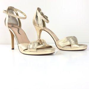 Nina Shimmer Gold Peep Toe Heels
